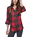 Thread & Supply Hannah Red & Charcoal Plaid Shirt