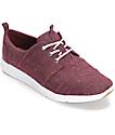 Toms Del Rey Herringbone Burgundy Womens Shoes