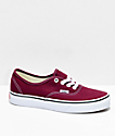 Vans Authentic Burgundy & White Skate Shoes