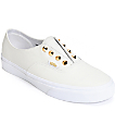 Vans Authentic Gore Stud White Leather Slip-On Shoes (Womens)