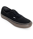 Vans Authentic Pro Black and Gum Skate Shoes (Mens)