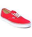 Vans Authentic Red Skate Shoes (Mens)