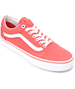 Vans Old Skool Deep Sea Coral & White Canvas Shoes (Womens)