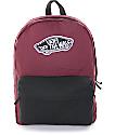 Vans Realm Burgundy & Black Colorblock Backpack