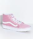 Vans Sk8-Hi Slim Zephyr Pink & White Skate Shoes