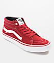 Vans Sk8-Mid Pro Scarlet Red & White Skate Shoes