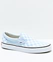 Vans Slip-On Baby Blue & White Checkered Skate Shoes