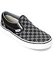 Vans Slip-On Black & Pewter Checkered Boys Skate Shoes