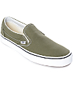 Vans Slip-On Winter Moss Green & White Skate Shoes