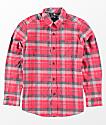 Volcom Boys Caden Red Woven Flannel Shirt