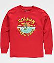 Volcom Boys Fade Red Long Sleeve T-Shirt