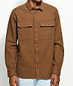 Volcom Ketil Dark Khaki Mud Flannel Shirt