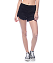 YMI Black Exposed Button High Waisted Shorts