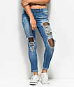 YMI Mesh Inset Ankle Ripped Jeans