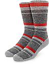 Zine 10 Feet Tall Grey & Red Crew Socks
