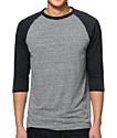 Zine 2nd Inning Charcoal & Heather Black Baseball T-Shirt