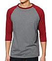 Zine 2nd Inning Heather Grey & Marled Red Baseball Shirt