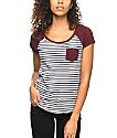 Zine Bartlett Striped Burgundy Raglan T-Shirt