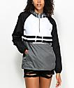 Zine Domino Black, White & Grey Pullover Windbreaker