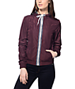 Zine Juno Burgundy Tribal Tape Lined Windbreaker