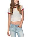 Zine Khan White, Red & Blue Ringer T-Shirt