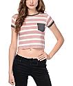 Zine Lambert Striped White & Red Cropped T-Shirt