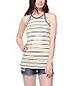 Zine Lawrence Ribbed Cream & Red Trim Tank Top