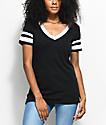 Zine Lizz Black & White V-Neck T-Shirt