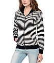 Zine Matilda Black & Cream Stripe Zip Up Hoodie