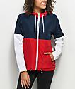 Zine Reajan Red, White & Blue Lined Windbreaker Jacket