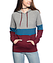 Zine Sheena Tri Block Grey, Burgundy & Blue Hoodie
