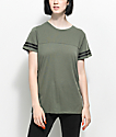 Zine Sherman Olive Athletic Stripe T-Shirt