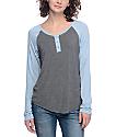 Zine Siri Light Blue & Grey Henley Long Sleeve Baseball T-Shirt