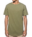 Zine Top Shelf Heather Green Curved Hem Long T-Shirt