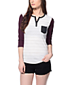 Zine White, Charcoal & Blackberry Stripe Baseball T-Shirt