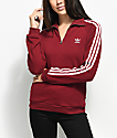 adidas 3 Stripe Burgundy Partial Zip Sweatshirt