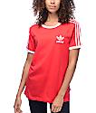 adidas 3 Stripe Red Womens T-Shirt