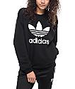 adidas Trefoil Black Crew Sweatshirt