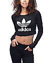 adidas Trefoil Crop Fitted Long Sleeve Black T-Shirt