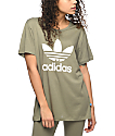 adidas Trefoil Olive Boyfriend T-Shirt