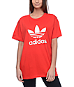 adidas Trefoil Red Printed Back T-Shirt