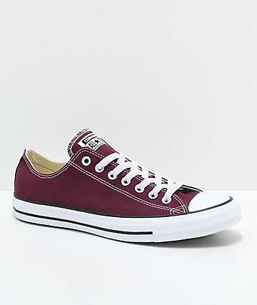 !Converse Chuck Taylor All Star Ox zapatos en color borgoño y blanco