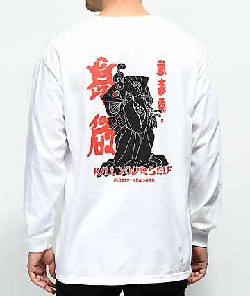 10 Deep Belly Full Of Laughs White Long Sleeve Pocket T-Shirt
