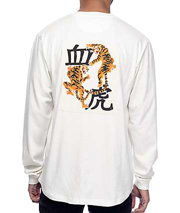 10 Deep Blood Chit Long Sleeve White T-Shirt