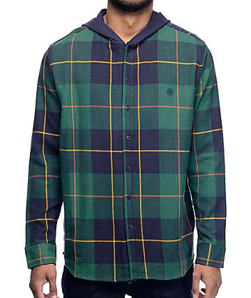 10 Deep CB's Evergreen Hooded Flannel Shirt