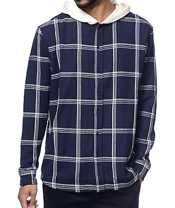 10 Deep CB's Navy Hooded Flannel Shirt