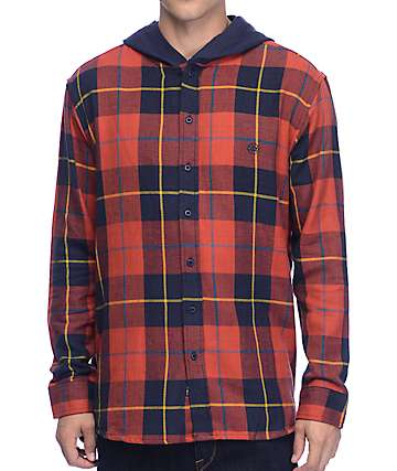 10 Deep CB's Red Hooded Flannel