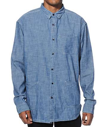 10 Deep Garment Supply Chambray Long Sleeve Button Up Shirt