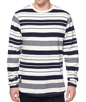 10 Deep Kente White Stripe Long Sleeve T-Shirt
