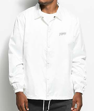10 Deep Ripstop White Coaches Jacket